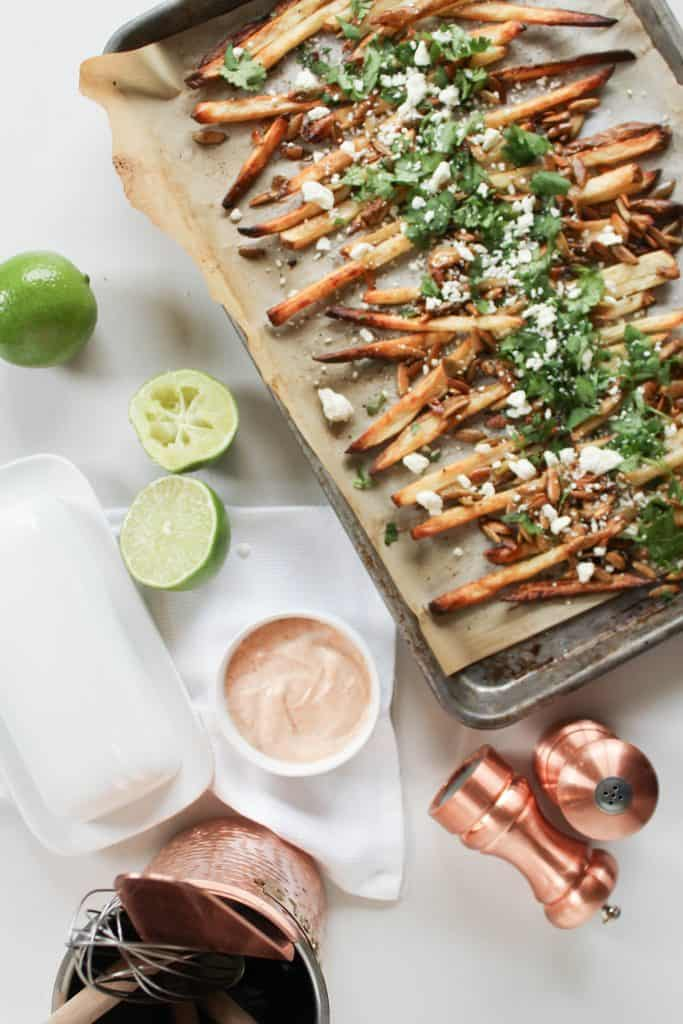 Loaded Feta Fries with Chipotle Lime Sauce | Feta | Appetizer | Football