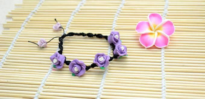 How to Make a Fantastic Spiral Knot Bracelet with Purple Polymer Clay Flower Beads