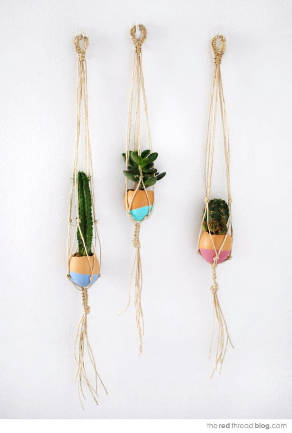 Make a mini hanging macrame garden.