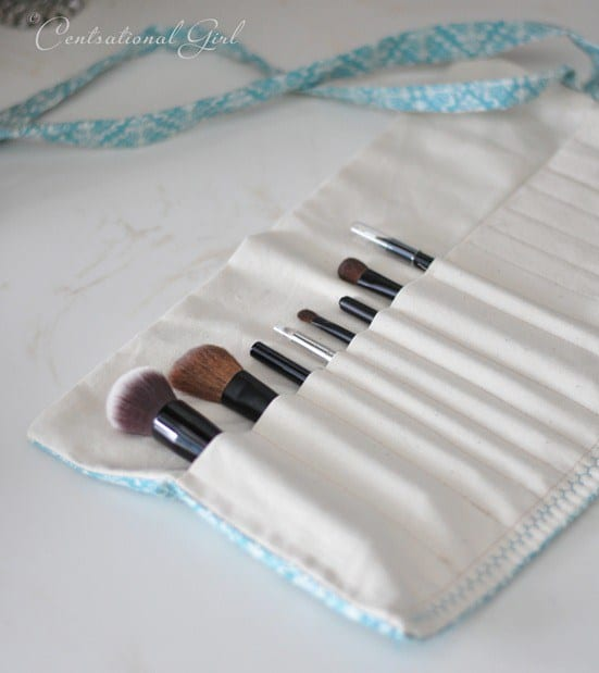 If you're handy with a sewing machine you can whip up your own make up brush roll which is great for travel
