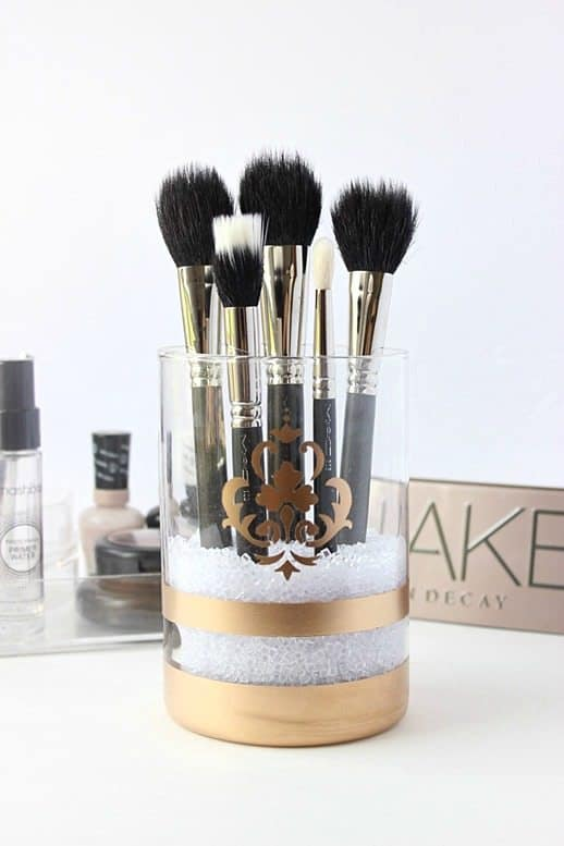 Makeup brush holders don't get much more stylish than this glamorous DIY