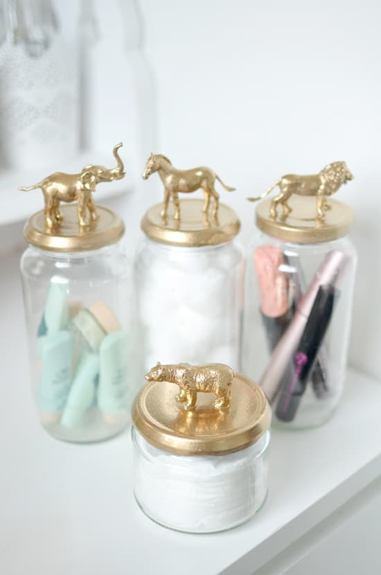 Raid the kid's toy box to make some of these funky storage jars