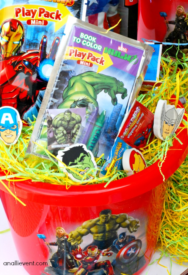 Some great ideas for a Marvel superhero Easter basket!