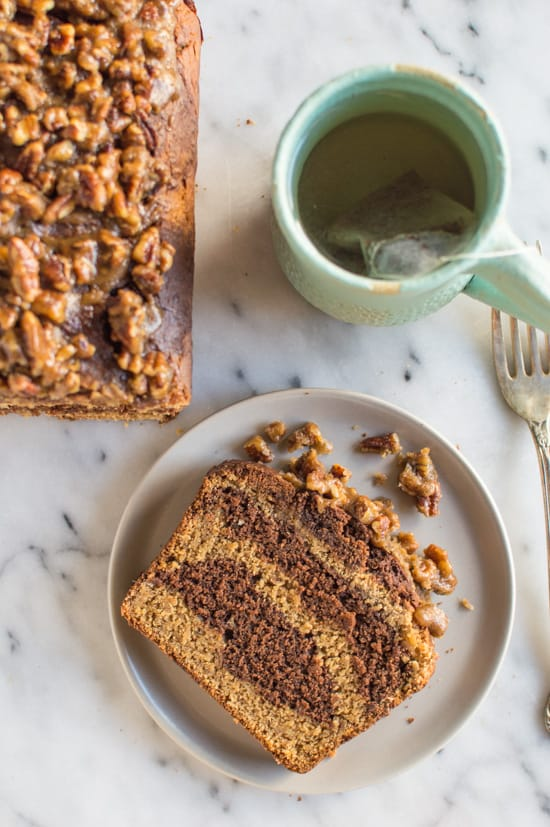 Banana Chocolate And Peanut Butter Swirl Bread With Pecan Praline