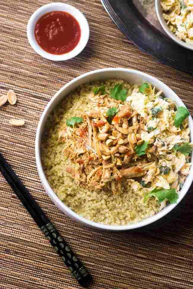 Thai Chicken Quinoa Bowls With Peanut Sauce {Crockpot}