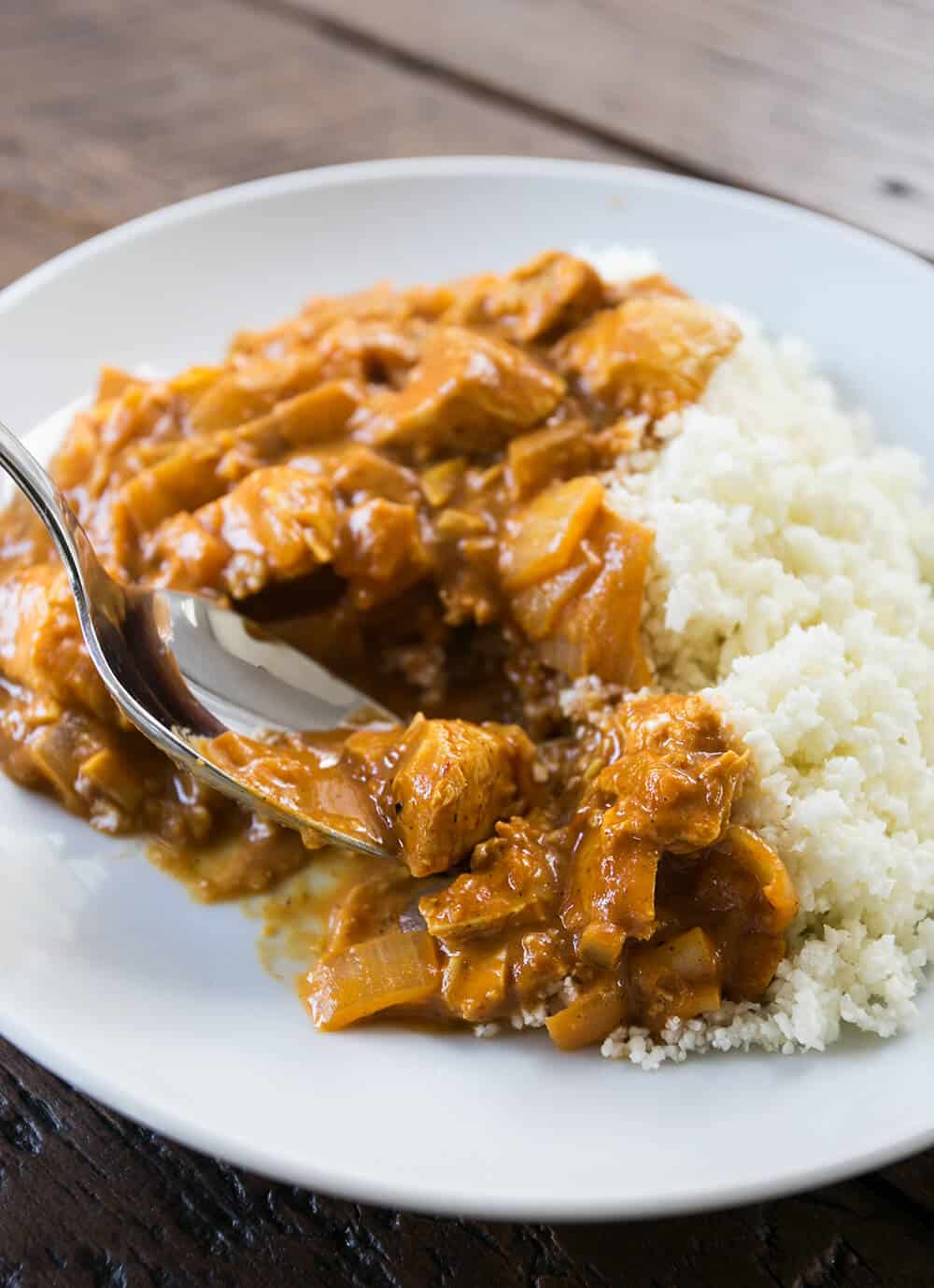 Cleaned Up Creamy Butter Chicken with Cauliflower Rice