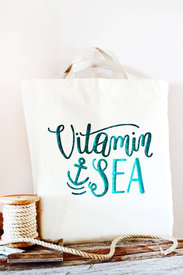 Foiled Canvas Beach Bag