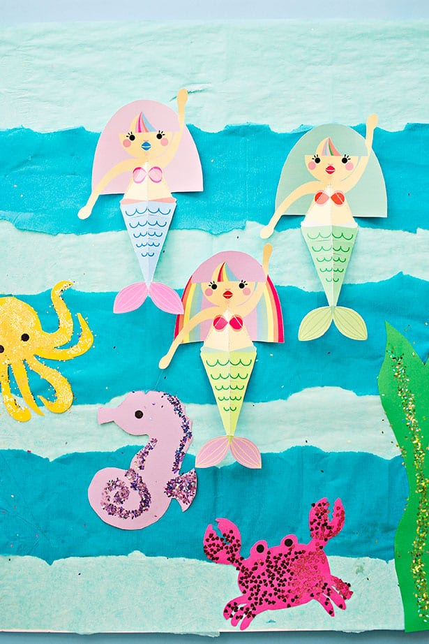 Swimming Mermaid Paper Craft