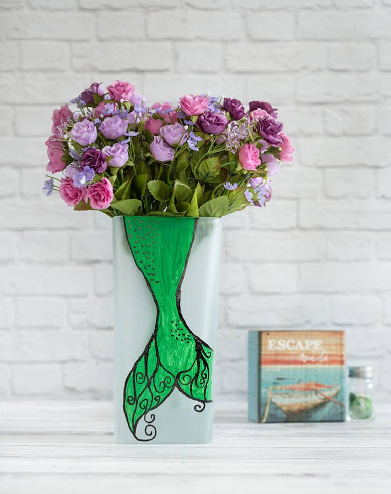 DIY Painted Mermaid Vase (with pattern)