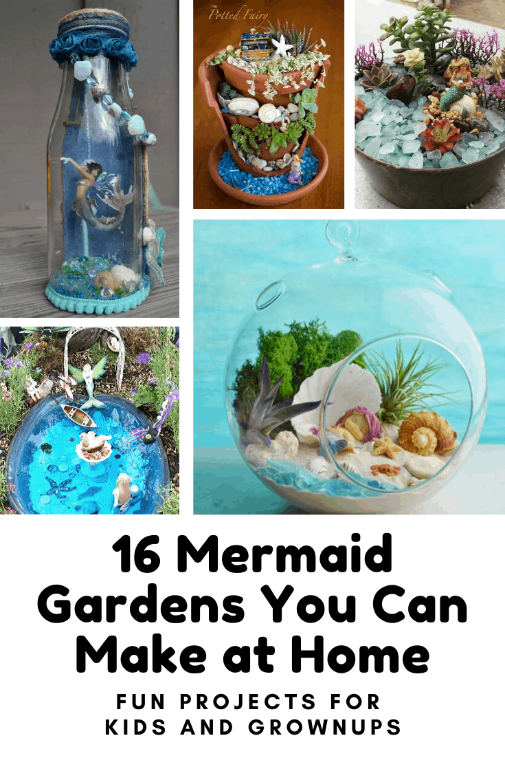How clever are these mermaid gardens! These are fun DIY projects you can make at home this weekend #mermaid #diy #crafts