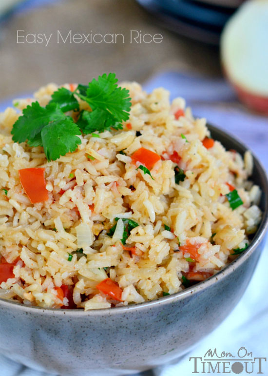 Easy Mexican Rice Recipe from http://www.momontimeout.com/2014/04/easy-mexican-rice/