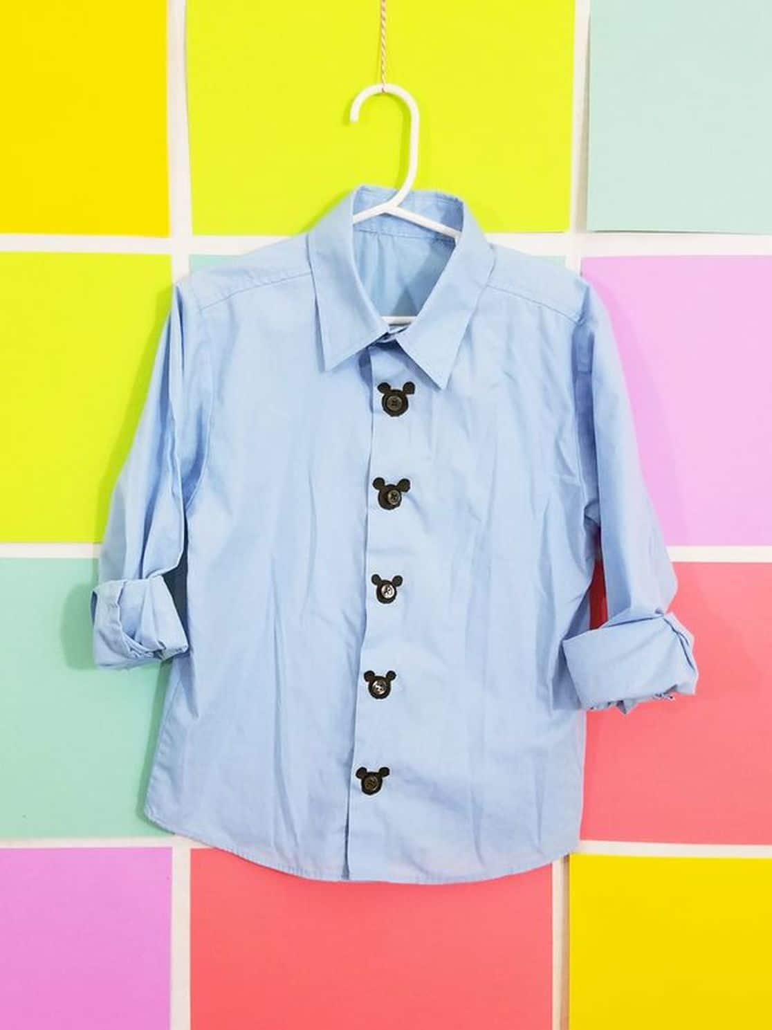 DIY Mickey Mouse Button-Down Shirt