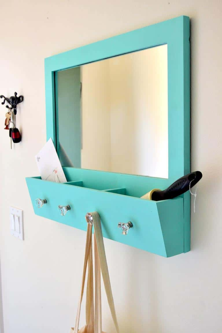 Make an entryway mirror with handy storage
