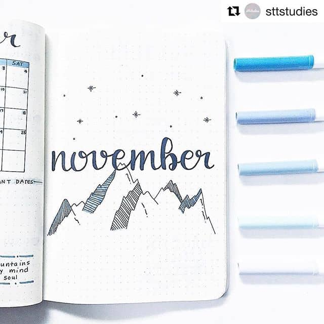 mountains cover page for november Bullet Journal