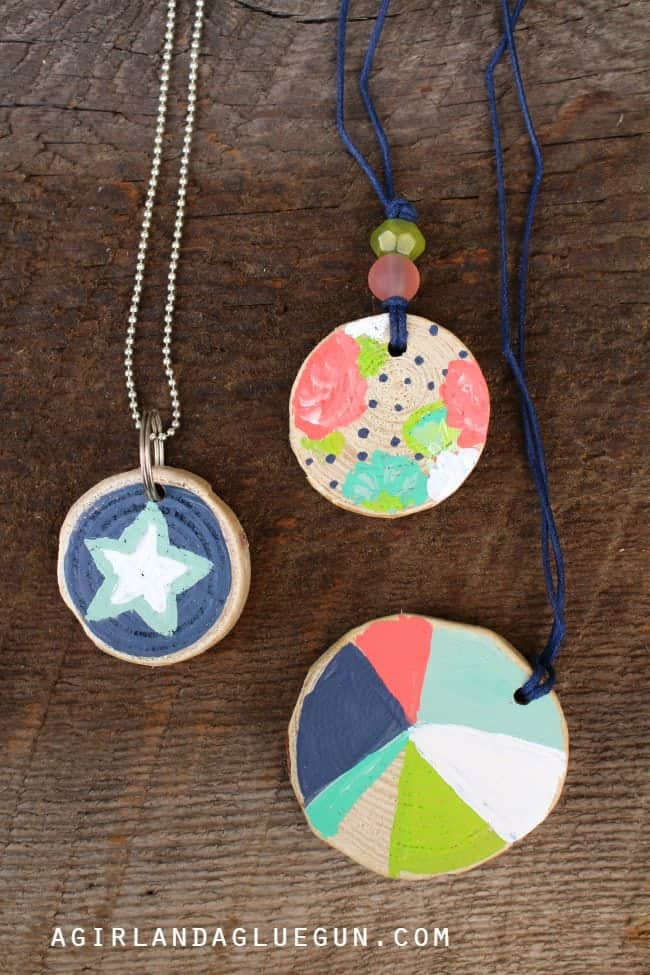 Woodchip Painted Necklaces