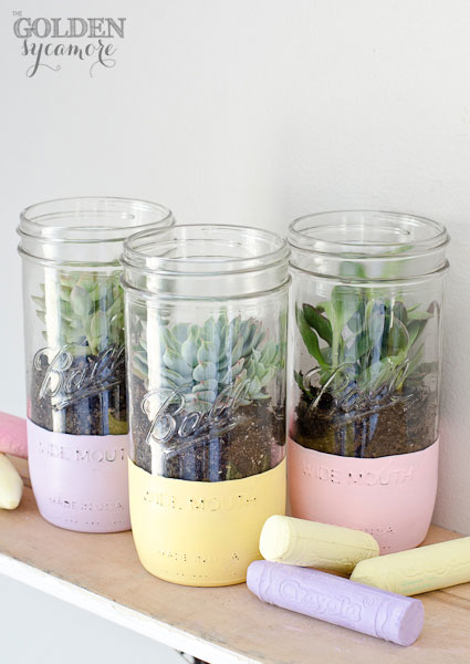 Painted Mason Jar Planter
