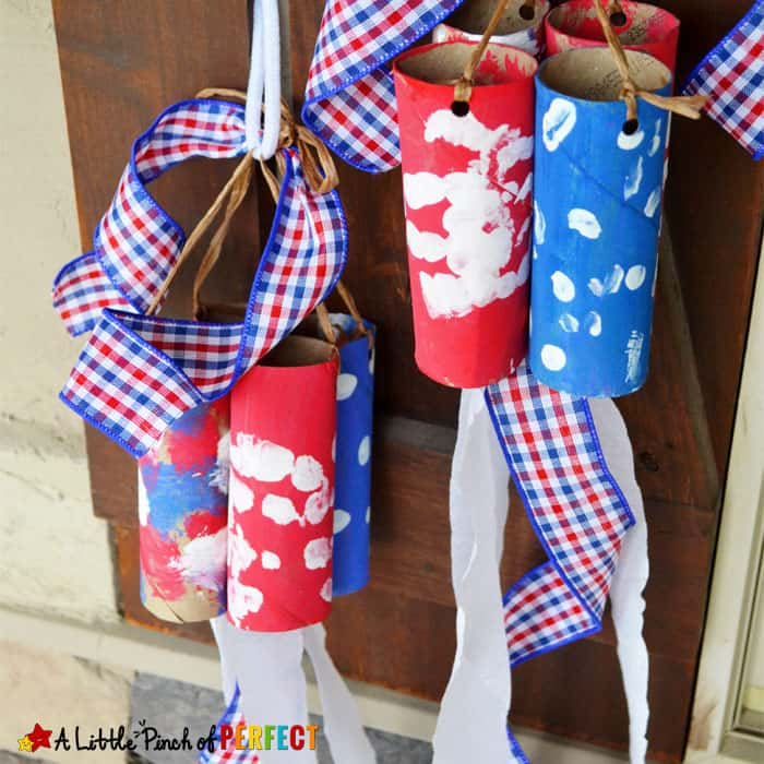 Patriotic Windsock Toilet Paper Roll Kids Craft<