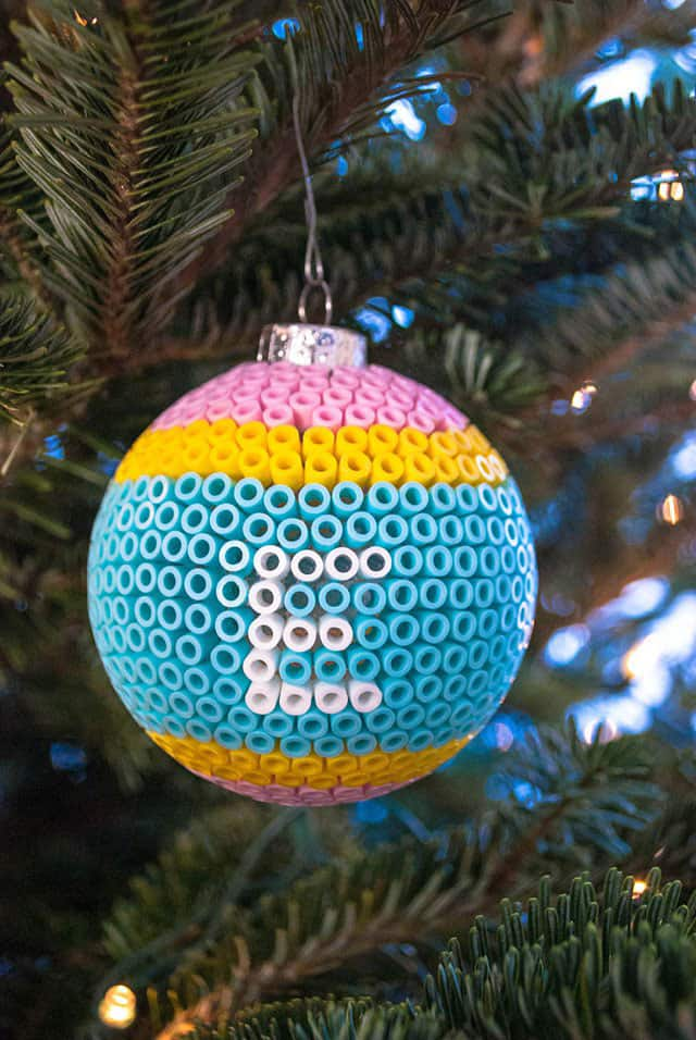 Decorate Glass Ball Christmas Ornaments with Perler Beads