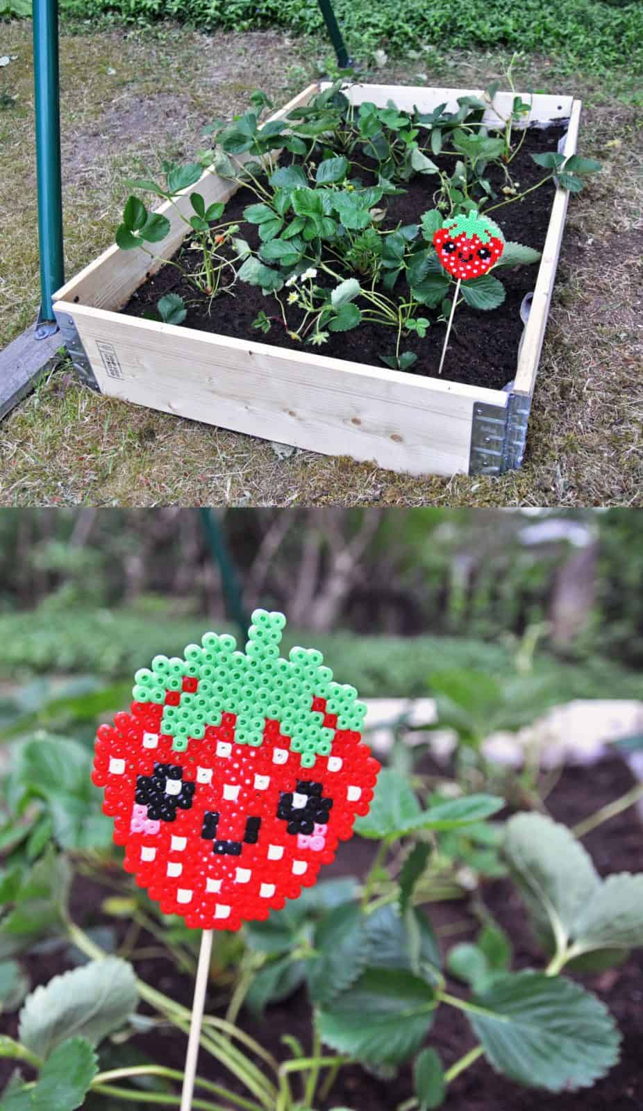 Perler Strawberry Plant Marker