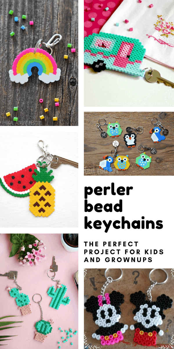 These perler bead keychains are fun for kids and grownups to make - and perfect for dressing up your bags and zipper pulls!