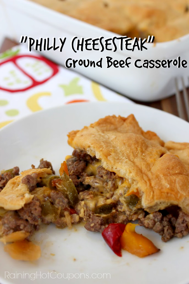 """Philly Cheesesteak"" Ground Beef Casserole"
