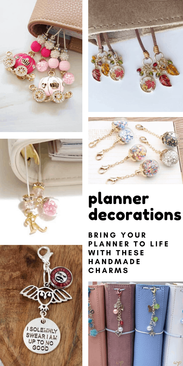 These handmade planner decorations are beautiful - so many great charms to hang on your bullet journal or traveller's notebook