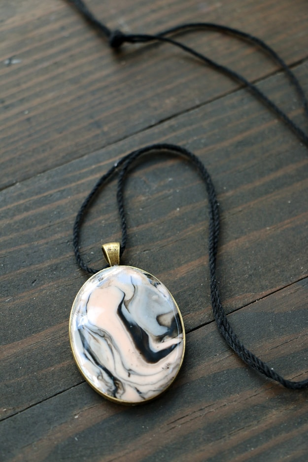Easy Marbled Clay Pendant