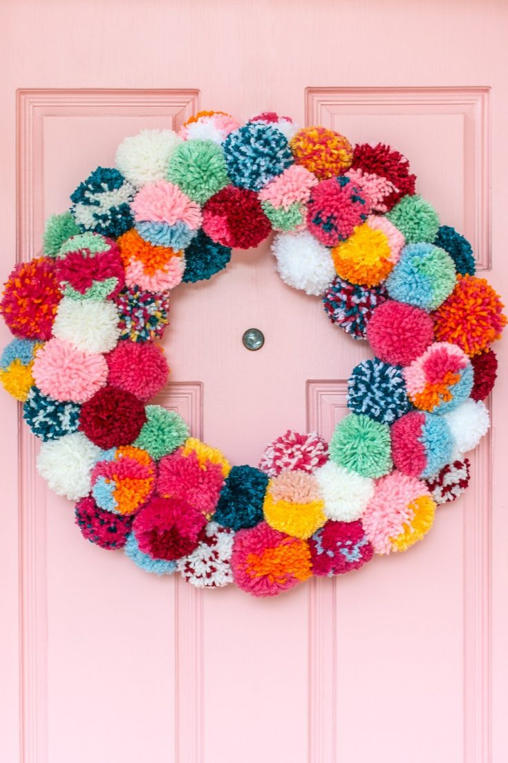DIY Pom-Pom Holiday Wreath -