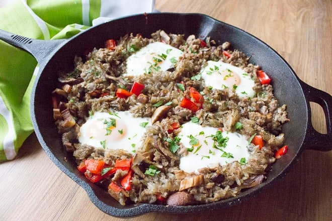 Potato Breakfast Hash with Sausage, Mushrooms, and Peppers