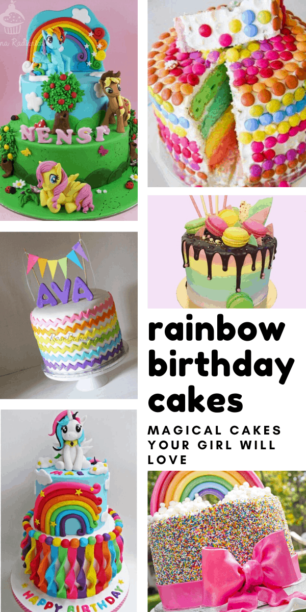 Awesome 14 Totally Magical Rainbow Birthday Cakes For Girls Funny Birthday Cards Online Unhofree Goldxyz