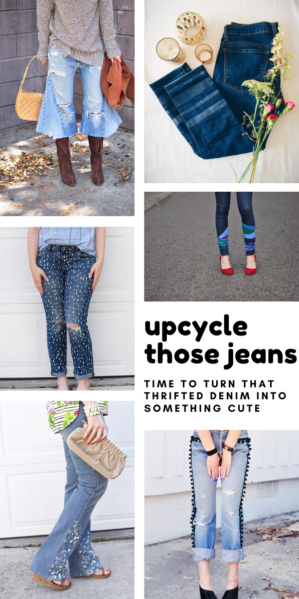 So many cute ways to recycle jeans - these upcycling projects will transform those old thrifted jeans into something gorgeous!
