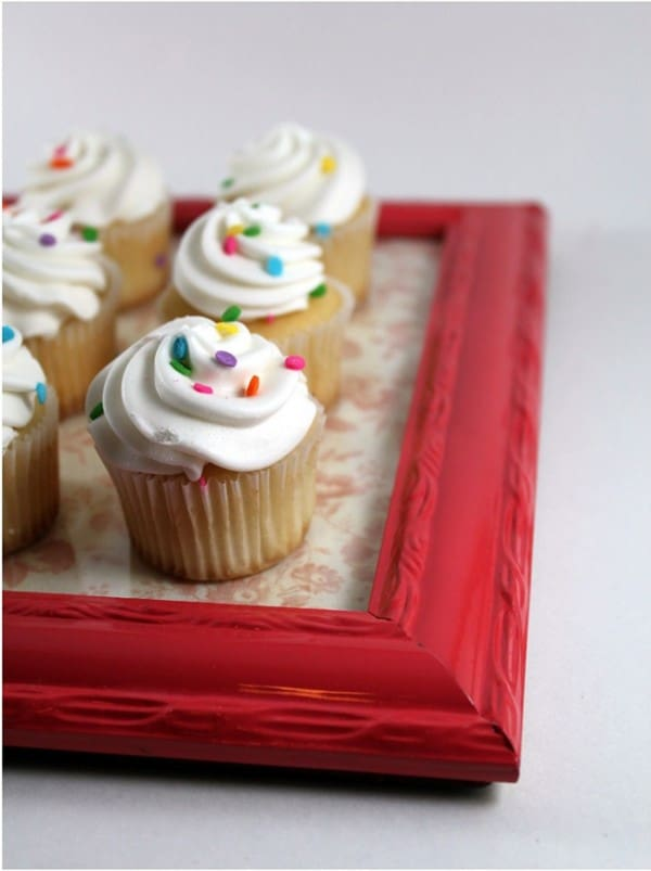 Make a cupcake serving tray from an old picture frame