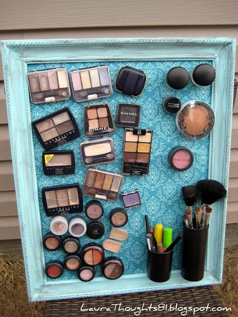 Turn a large picture frame into a magnetic makeup board
