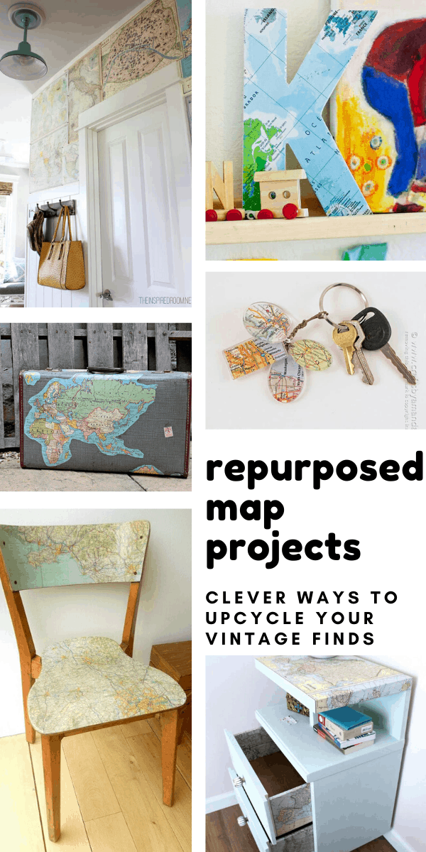 Loving these repurposed map projects - so many ways to upcycle your vintage flea market finds into home decor and handmade gifts!