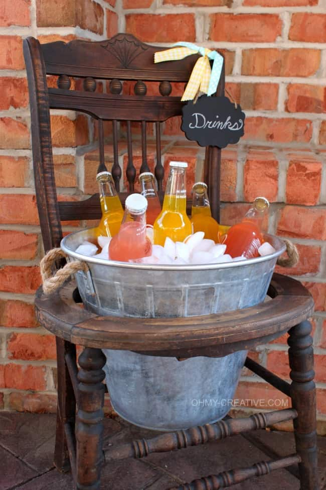 Transform an old chair into a drinks station