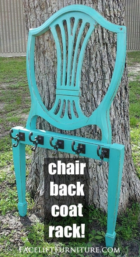 Take an old chair back and turn it into a coat rack