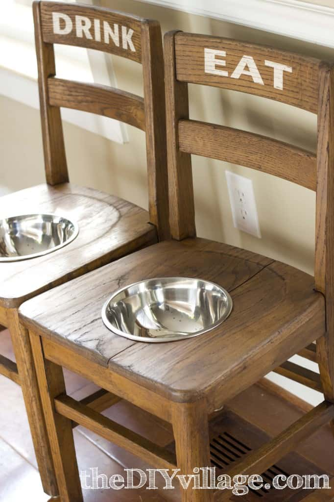 Turn two wooden chairs into a dog feeding station