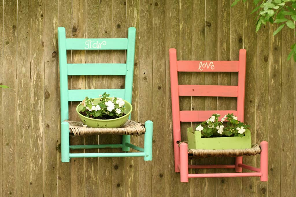 Repurpose your old chairs as planters