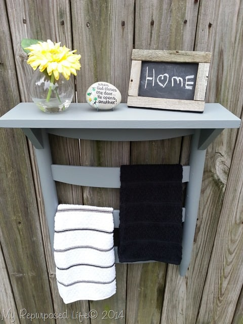 Make a towel hanging rack for your half bath from an old chair