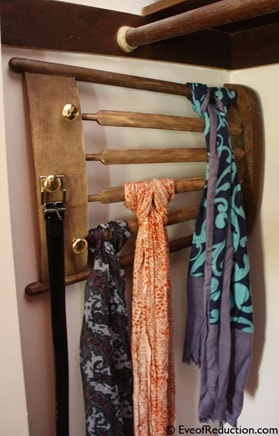 Turn an old wooden chair into a scarf hanger