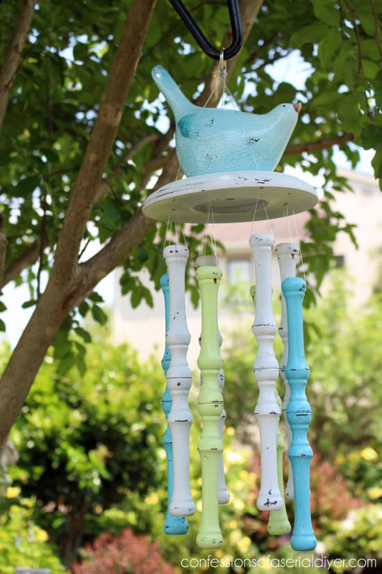 Use the wooden chair spindles to make a wind chime