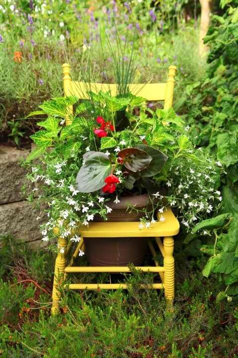 Turn a thrift store chair into a planter