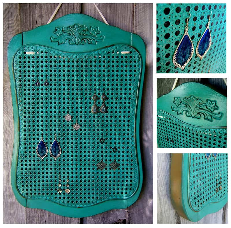 Use an old chair back as a earring rack