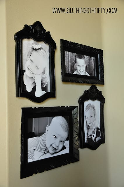 Turn the old chair backs into photo frames