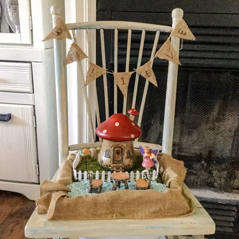 Turn an old chair into a fairy garden