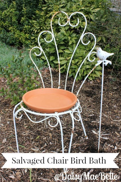 Turn a salvaged chair into a bird bath