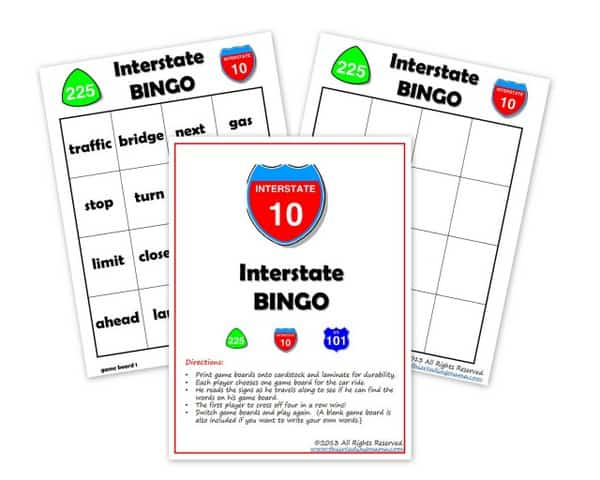 Free Interstate BINGO Printable