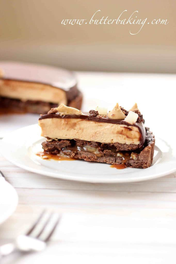 Salted Caramel, Pear and Pecan Chocolate Tart