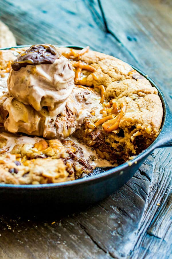 Salted Caramel Chocolate Skillet Cookie