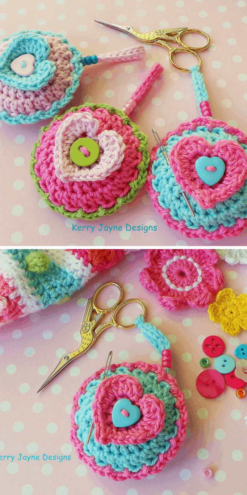 CROCHET PATTERN Scissor Keeper crochet pattern - Pin cushion crochet pattern - Heart crochet pattern